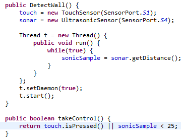 Implementation of a thread to remove the delay from the sonic sensor
